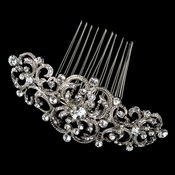 Rhodium Clear Rhinestone Art Deco Swirl Hair Comb 722