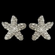 Rhodium Clear Rhinestone Beach Starfish Stud Earrings 3815