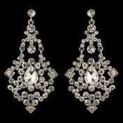 Rhodium Clear Rhinestone Chandelier Earrings 3849