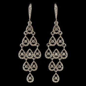 Rhodium Clear Rhinestone Chandelier Earrings 389