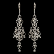 Rhodium Clear Rhinestone Chandelier Earrings 76016