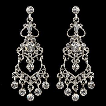 Rhodium Clear Rhinestone Chandelier Earrings 8415