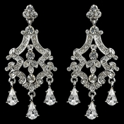 Rhodium Clear Rhinestone Chandelier Teardrop Earrings