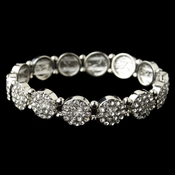 Rhodium Clear Rhinestone Circle Stretch Bracelet **Discontinued**