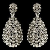 Rhodium Clear Rhinestone Cluster Drop Earrings 82054