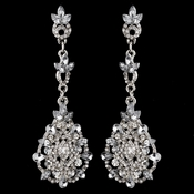 Rhodium Clear Rhinestone Crystal Drop Earrings 3730***Discontinued***
