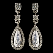 Rhodium Clear Rhinestone & CZ Crystal Dangle Earrings 41087