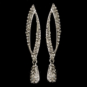 Rhodium Clear Rhinestone Dangle Earrings 82021