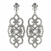 Rhodium Clear Rhinestone Deco Marquise Drop Earrings 3850