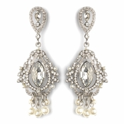 Rhodium Clear Rhinestone & Diamond White Pearl Chandelier Bridal Wedding Earrings 2376