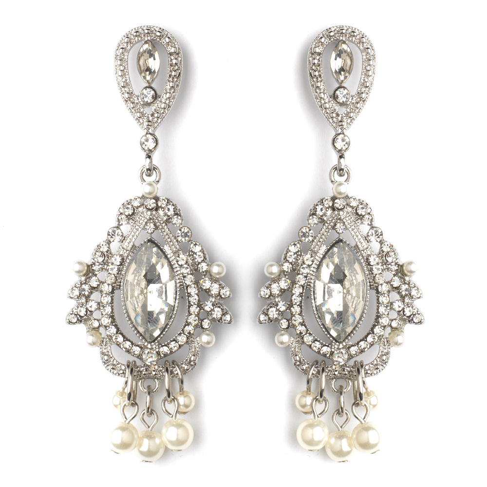 Rhodium Clear Rhinestone Diamond White Pearl Chandelier Bridal Wedding Earrings 2376