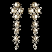 Rhodium Clear Rhinestone & Diamond White Pearl Dangle Earrings 178**Discontinued**