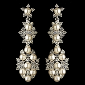 Rhodium Clear Rhinestone & Diamond White Pearl Dangle Earrings 179**Discontinued**