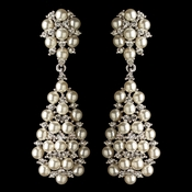 Rhodium Clear Rhinestone & Diamond White Pearl Dangle Earrings 180