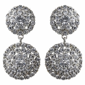 Rhodium Clear Rhinestone Drop Clip On Earrings 2347