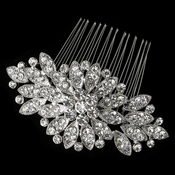 Rhodium Clear Rhinestone Flower Comb 8370