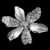 Rhodium  Clear Rhinestone Flower Hair Clip 7130