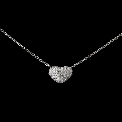 Rhodium Clear Rhinestone Heart Pendant Necklace 9201***Only 2 Left***