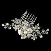 Rhodium Clear Rhinestone & Ivory Pearl Petite Flower Comb 63