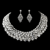 Rhodium Clear Rhinestone Modern Jewelry Set