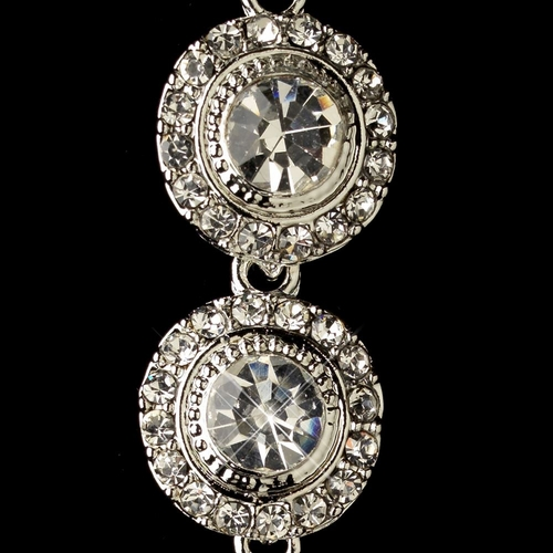 Rhodium Clear Rhinestone Pave Circle Dangle Earrings 82022