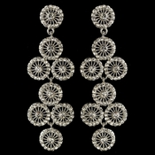 Rhodium Clear Rhinestone Retro Circle Wheel Dangle Earrings 82017