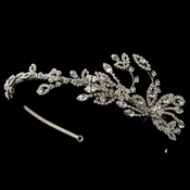 Rhodium Clear Rhinestone Side Accented Leaf Headband