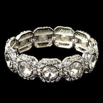 Rhodium Clear Rhinestone Stretch Bracelet 291