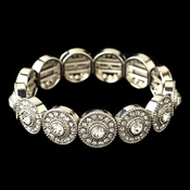 Rhodium Clear Rhinestone Stretch Bracelet 292