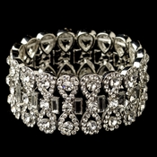 Rhodium Clear Rhinestone Stretch Bracelet 4110