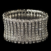 Rhodium Clear Rhinestone Stretch Bracelet 82023