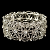 Rhodium Clear Rhinestone Stretch Flower Bracelet 76000