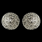Rhodium Clear Rhinestone Stud Earrings 82057