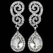Rhodium Clear Rhinestone Swirl Teardrop Earrings 1050