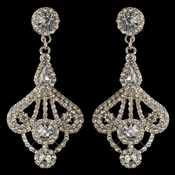 Rhodium Clear Rhinestone Vintage Dangle Earrings 3762
