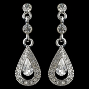 Rhodium Clear Rhinestone Vintage Drop Earrings
