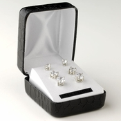 Rhodium Clear Round Cut CZ 3 Set Earrings