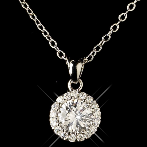 Rhodium Clear Round CZ Crystal Necklace Only 8582