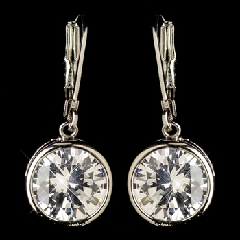 Rhodium Clear Round CZ Crystal Leverback Drop Earrings 9400