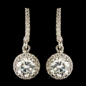 Rhodium Clear Round CZ Crystal Leverback Drop Earrings 9402