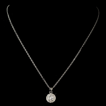 Rhodium Clear Round CZ Crystal Pendant Necklace 8582