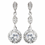 Rhodium Clear Round CZ Dangle Earrings 9599