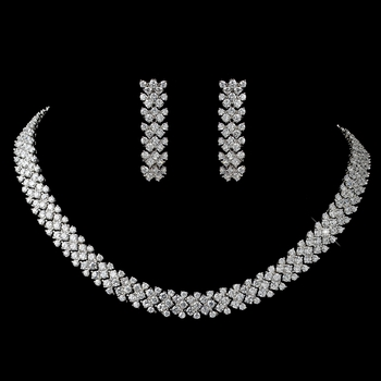 Rhodium Clear Round CZ Jewelry Set