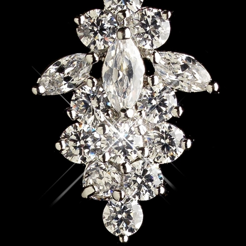 Rhodium Clear Round & Marquise CZ Crystal Dangle Earrings 9733