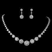 Rhodium Clear Round Pave CZ Jewelry Set