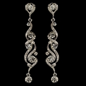 Rhodium Clear Round Rhinestone Swirl Dangle Earrings 82018**Discontinued***