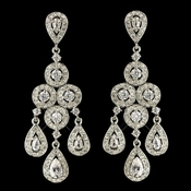 Rhodium Clear Round & Teardrop CZ Crystal Chandelier Earrings 7612