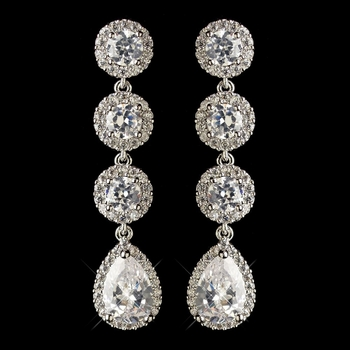 Rhodium Clear Round & Teardrop CZ Crystal Dangle Earrings 1336
