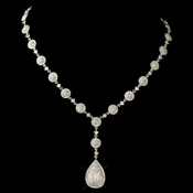 Rhodium Clear Round & Teardrop Pave CZ Crystal Necklace 82008