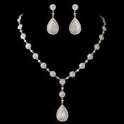 Rhodium Clear Round & Teardrop Pave CZ Crystal Necklace 82008 & Earrings 82009 Jewelry Set